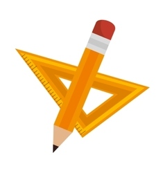 Rule and pencil school isolated icon vector