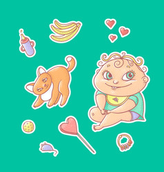 Set of color stickers joyful vector