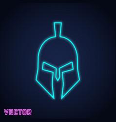 spartan helmet sign neon light design vector image