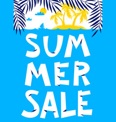 Summer shopping background summer sale lettering vector