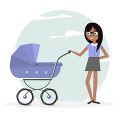 Woman and pram young mom and baby vector