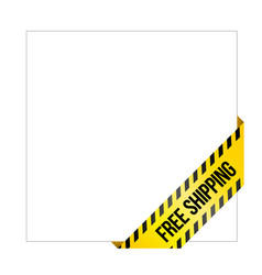 yellow caution tape with words free shipping vector image vector image