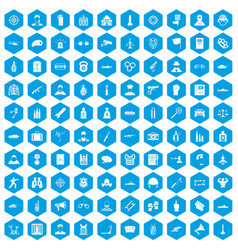 100 officer icons set blue vector