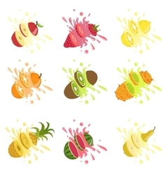 Fruits cut in the air splashing the juice vector