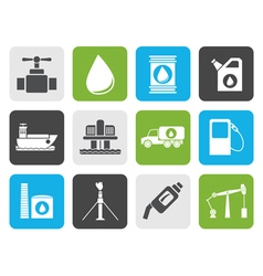 Flat oil and petrol industry objects icons vector