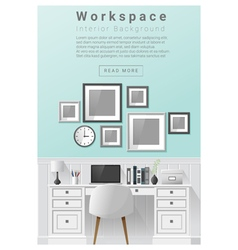 Interior design modern workspace banner 6 vector