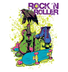 Rock n roller crow vector