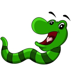 cartoon worm smiling vector image