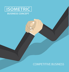 Isometric businessman hands doing arm wrestling vector