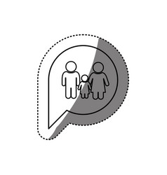 figure family inside chat bubble vector image