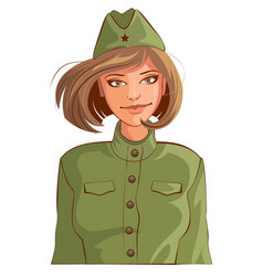 russian woman retro soldier vector image