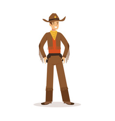 Cowboy in american traditional costume western vector