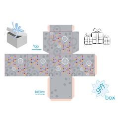 Template for cube gift box vector