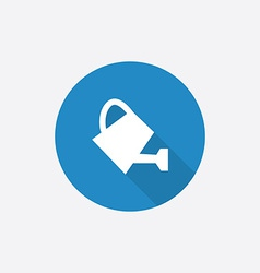 Watering can flat blue simple icon with long vector