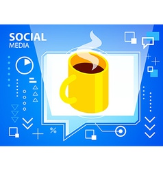 Bright speech bubble and coffee on blue back vector