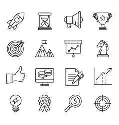 Goal startup business solution icons vector