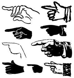 Collection set of hand gestures pointing vector