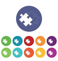 Matching puzzle icons colored set vector