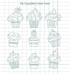 Linear cupcakes icons on notebook sheet vector