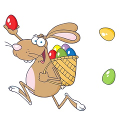 Happy Easter Rabbit Running With A Basket And Egg vector image
