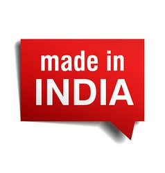 made in India red 3d realistic speech bubble vector image