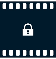 Flat paper cut style icon of a lock vector