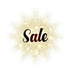 Sale sign on golden glitter splash vector