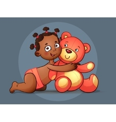 African American GIRL hugs Teddy Bear toy on vector image
