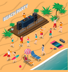 Beach party isometric composition vector