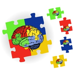 Brain in puzzle for web design vector image