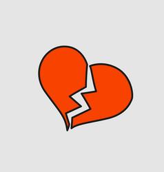 broken heart with crack cartoon sticker in comic vector image