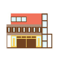 Brown and red shopping mall modern building vector
