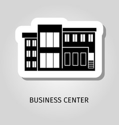 Business center black building sticker vector