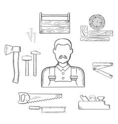 Carpenter with timber and tools sketch icons vector