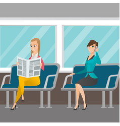 Caucasian women traveling by public transport vector