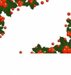 Christmas holly landscape border vector
