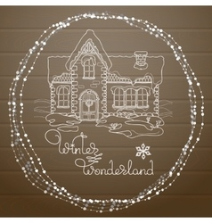 Christmas house hand drawn pattern on vector