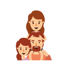 colorful caricature half body family with mother vector image vector image