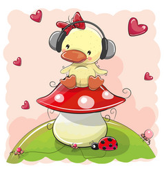 Cute cartoon duck girl with headphones vector
