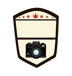 Emblem shape shield with analog camera vector