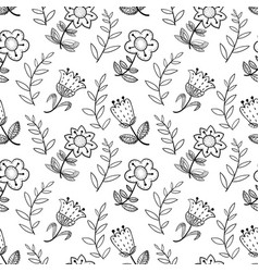 floral seamless pattern with abstract doodle vector image vector image