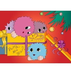 four cute colorful monsters in gift box under vector image vector image