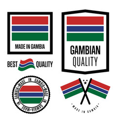 Gambia quality label set for goods vector