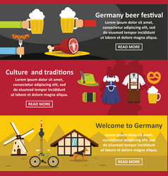 Germany travel banner horizontal set flat style vector