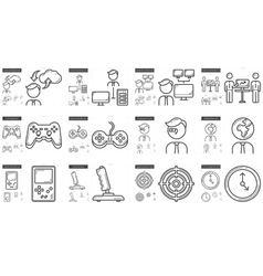 Hi-tech line icon set vector