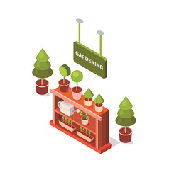 isometric flower shop vector image