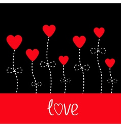 love card Heart flowers Black and red vector image