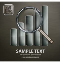 Magnifying glass and chart on vector image vector image