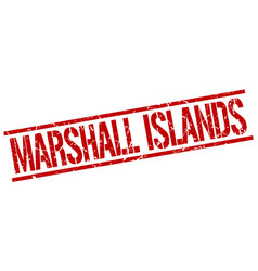 Marshall islands red square stamp vector
