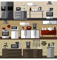 Modern kitchen interior set vector